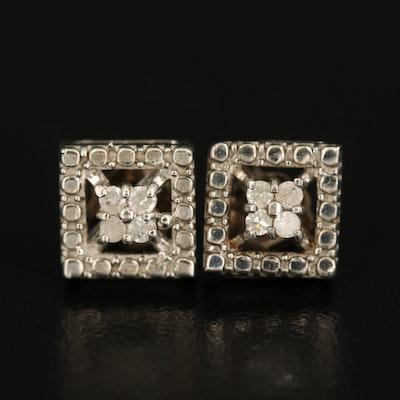 Sterling Diamond Square Stud Earrings