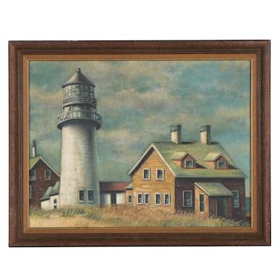 "J.H. Henig Oil Painting ""Lighthouse, North Truro Cape Cod,"" 1957"