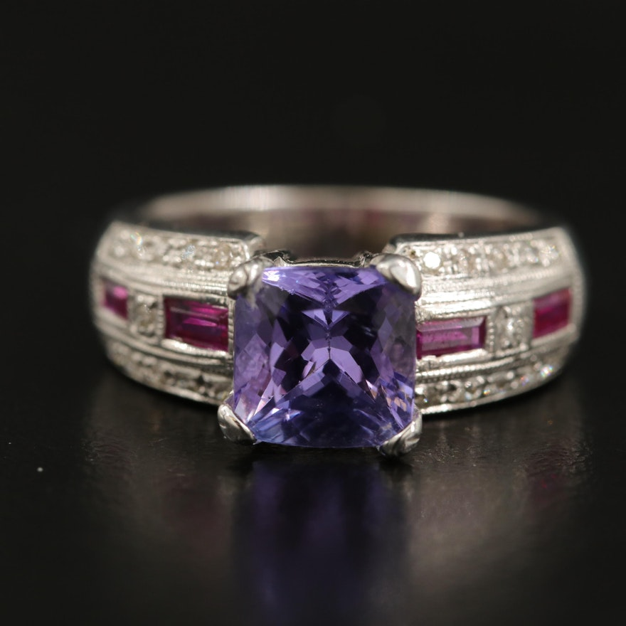 14K Tanzanite, Ruby and Diamond Ring