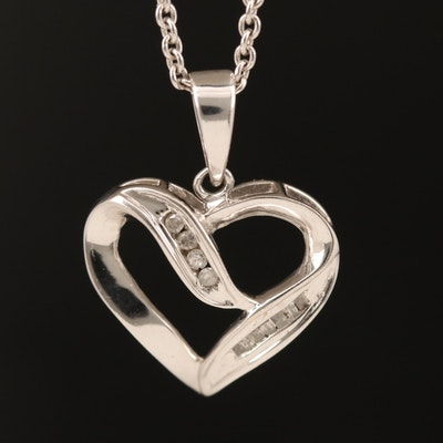 10K Diamond Heart Pendant on 14K Chain