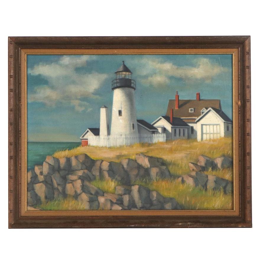 """J.H. Henig Oil Painting """"Pemaquid Light,"""" 1979"""
