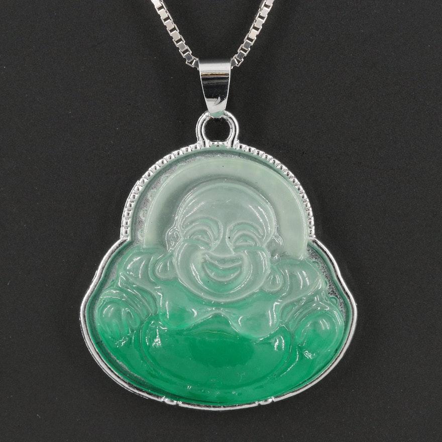 Budai Pendant on 14K Box Chain Necklace