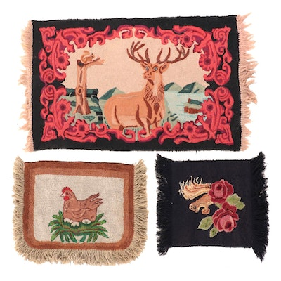 Hand-Hooked Pictorial Accent Rugs, Early 20th Century