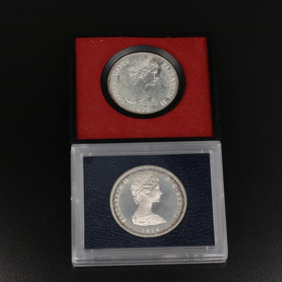 1972 Cayman Islands $25 and 1976 Turks and Caicos Islands 20 Crowns Silver Coins