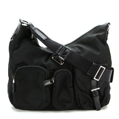 Prada Hobo Shoulder Bag in Black Tessuto Nylon with Leather Trim