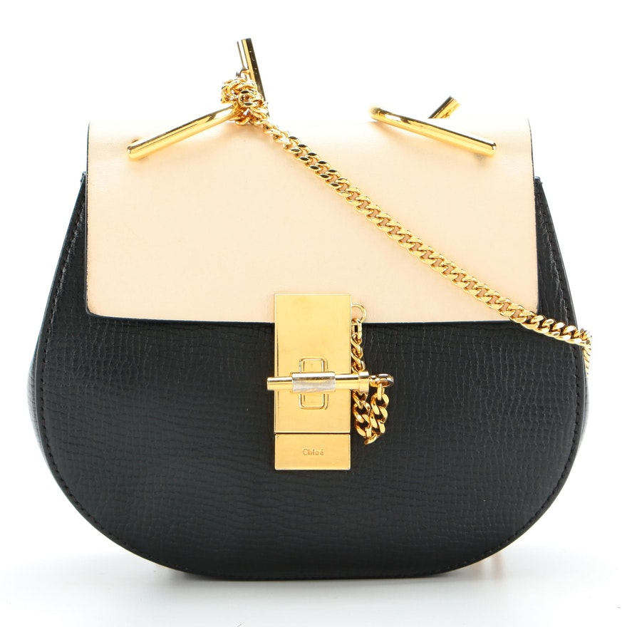 Chloé Drew Crossbody Bag in Lambskin and Grained Leather