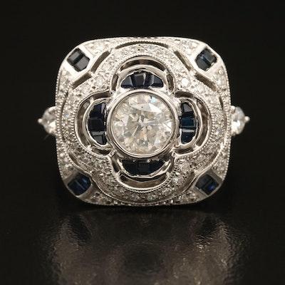 Platinum 1.57 CTW Diamond and Sapphire Quatrefoil Openwork Ring