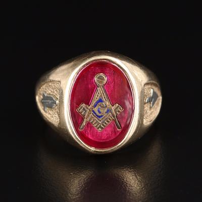 10K Ruby Masonic Ring