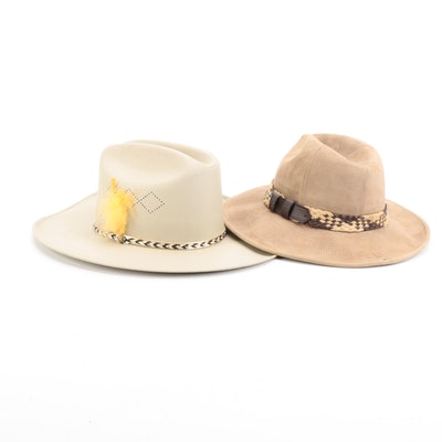 Saks Fifth Avenue Suede Safari with Feather and Metal Embellished Cowboy Hats