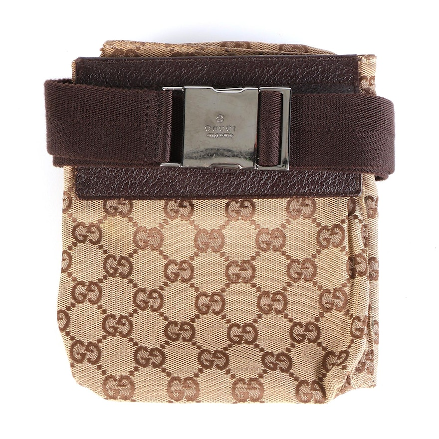 Gucci Belt Bag in GG Canvas and Brown Leather