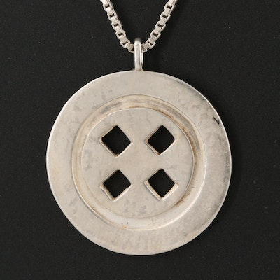 Vintage Signed Sterling Silver Button Pendant Necklace
