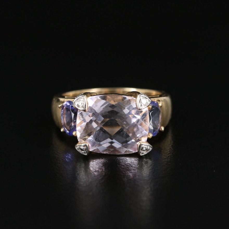 14K Amethyst, Tanzanite and Diamond Ring