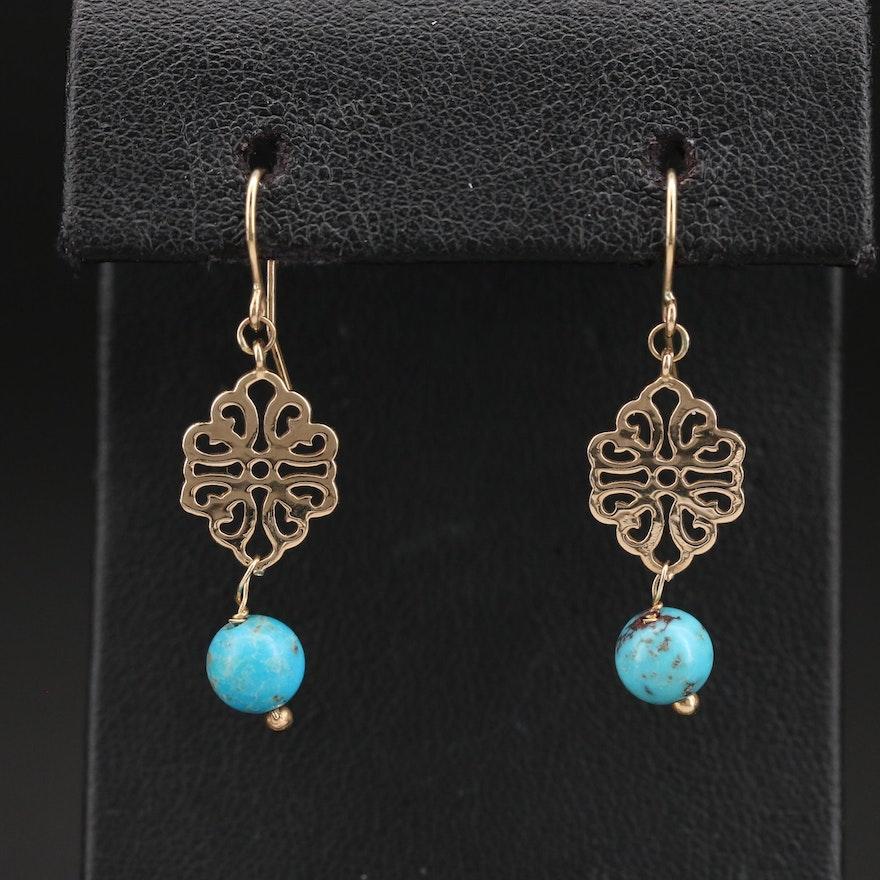 10K Turquoise Drop Earrings