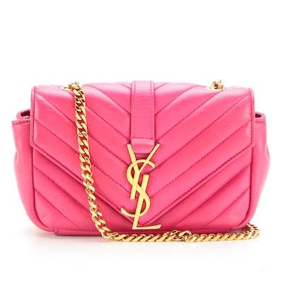 Saint Laurent Mini Envelope Chain Bag in Dark Pink Matelassé Leather