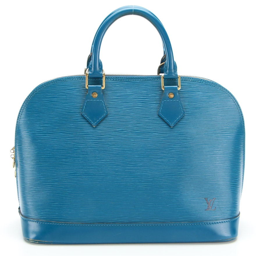 Louis Vuitton Alma PM Bag in Toledo Blue Epi Leather with Smooth Leather Trim