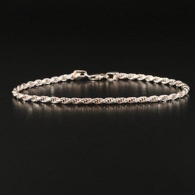 Sterling Silver Diamond Cut Rope Chain Bracelet