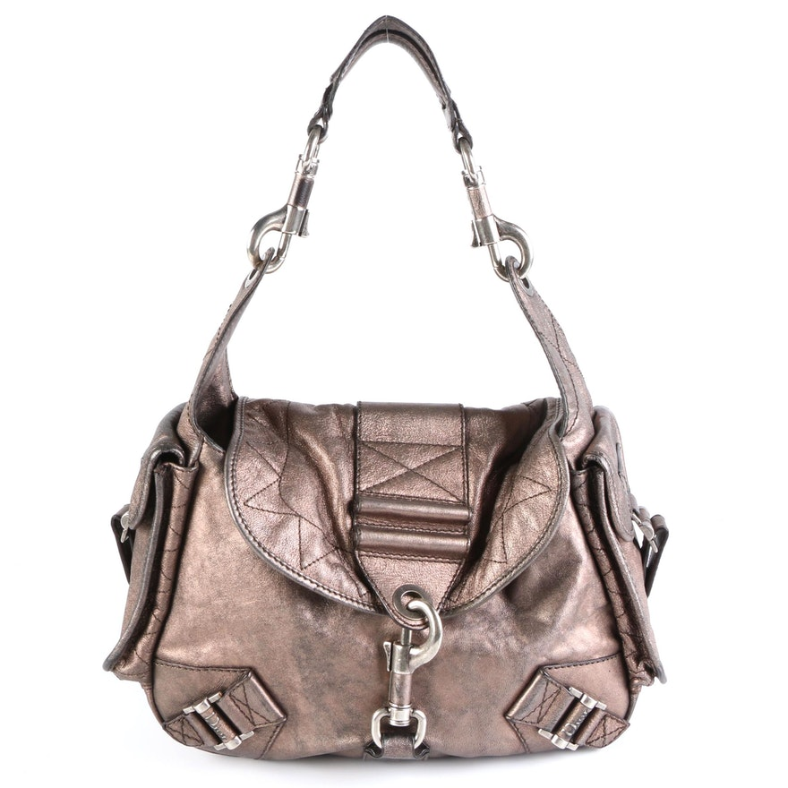 Christian Dior Rebelle Hobo Bag in Metallic Bronze Leather