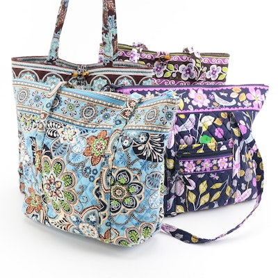 Vera Bradley Zippered Totes and Button Totes in Floral Prints
