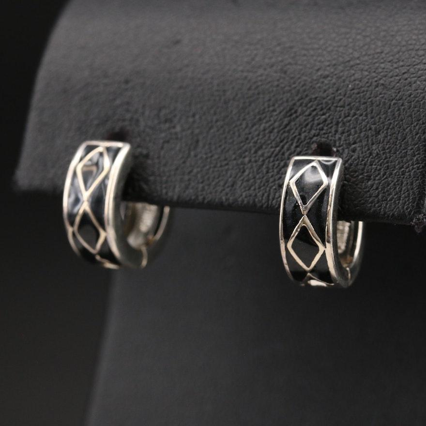 Sterling Enamel Reversible Huggie Hoop Earrings 1