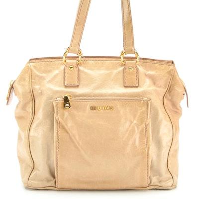 Miu Miu Tote Bag in Tan Vitello Shine Leather