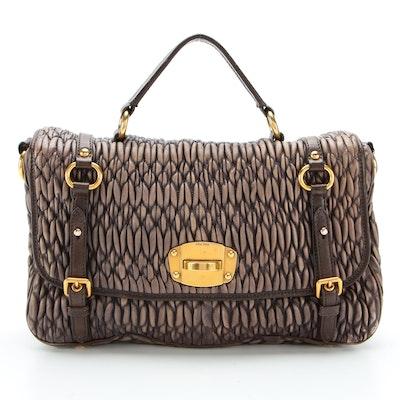 Miu Miu Matelassé Leather Two-Way Harness Strap Satchel