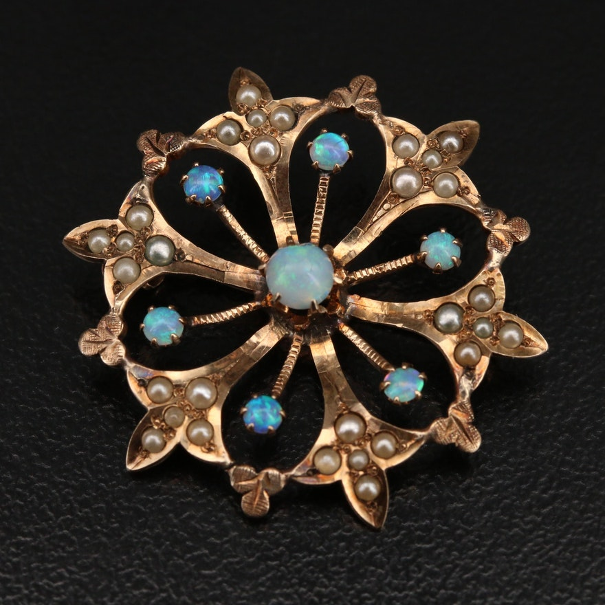 Victorian 10K Opal and Imitation Pearl Brooch