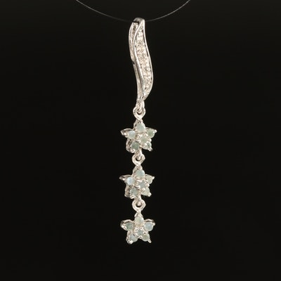 Sterling Alexandrite and Zircon Flower Pendant