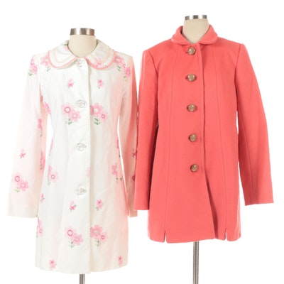 J.Crew Brushed Wool Coat with Cynthia Steffe Embroidered Coat