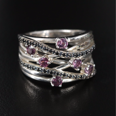 Sterling Spinel Crossover Ring