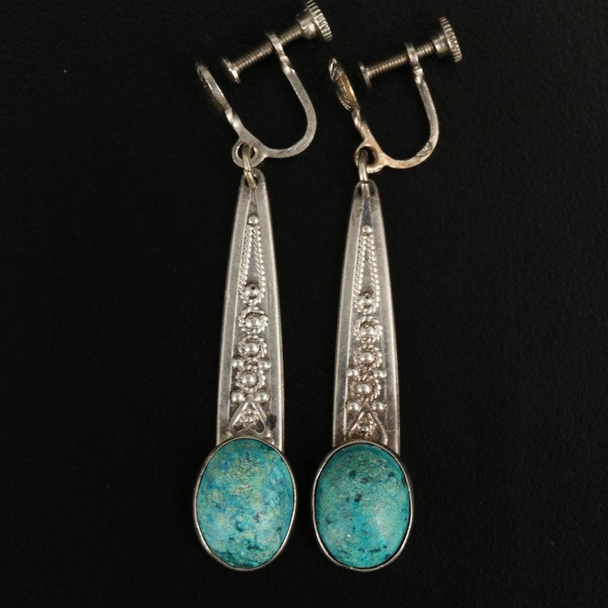 Southwestern Sterling Faux Turquoise Drop Earrings