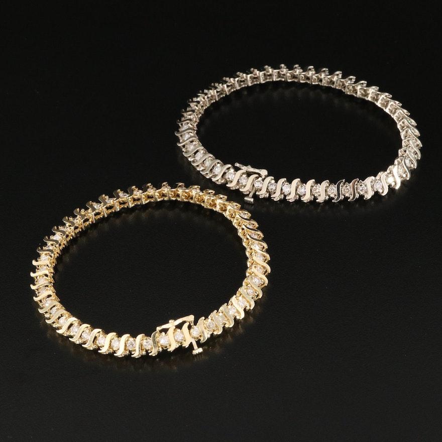 14K 2.80 CTW and 2.86 CTW Diamond S-Link Bracelets