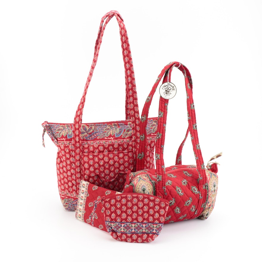Vera Bradley Printed Cotton Shoulder Bags, Tote, Book Cover and Cosmetics Pouch