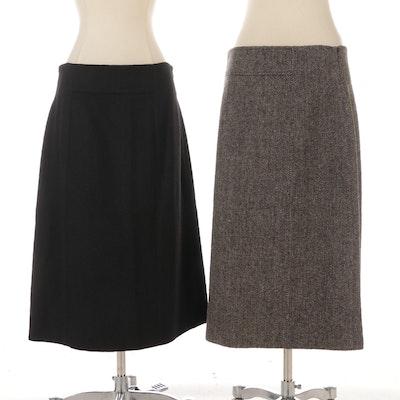 Celine Black Cashmere and Brown Wool Herringbone Skirts