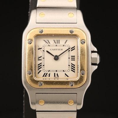 Santos de Cartier 18K and Stainless Steel Quartz Wristwatch