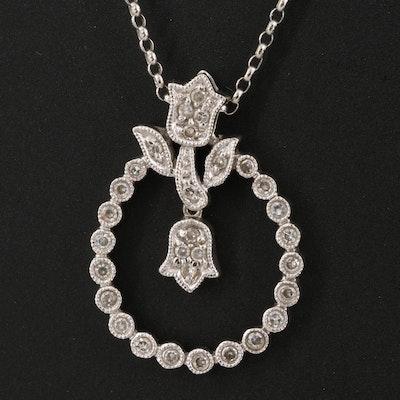 14K Diamond Tulip Pendant Necklace