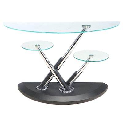 Modernist Style Chrome, Faux-Leather, and Glass Top Three-Tier Console Table