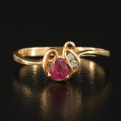 18K Ruby and Diamond Foliate Ring