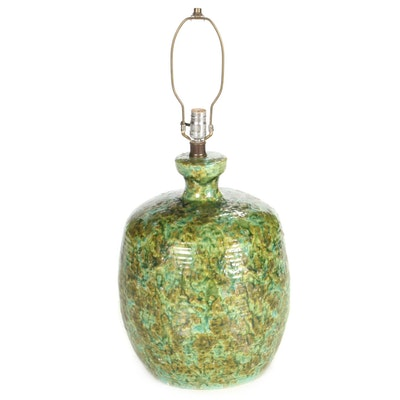 Tan and Green Glazed Ceramic Table Lamp, Mid-20th Century