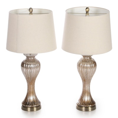 Pair of Mercury Glass Reeded Baluster Table Lamps