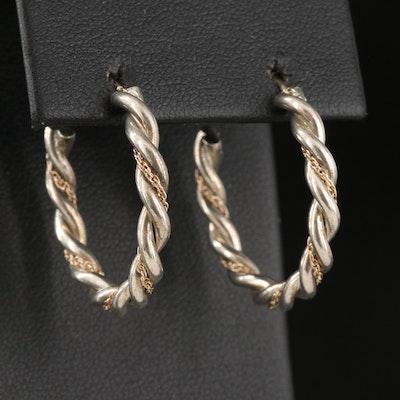 Sterling Silver and 14K Braided Hoop Earrings