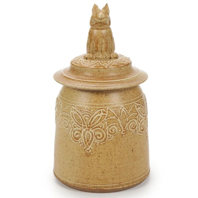 Handcrafted Cat Topped Ceramic Lidded Jar