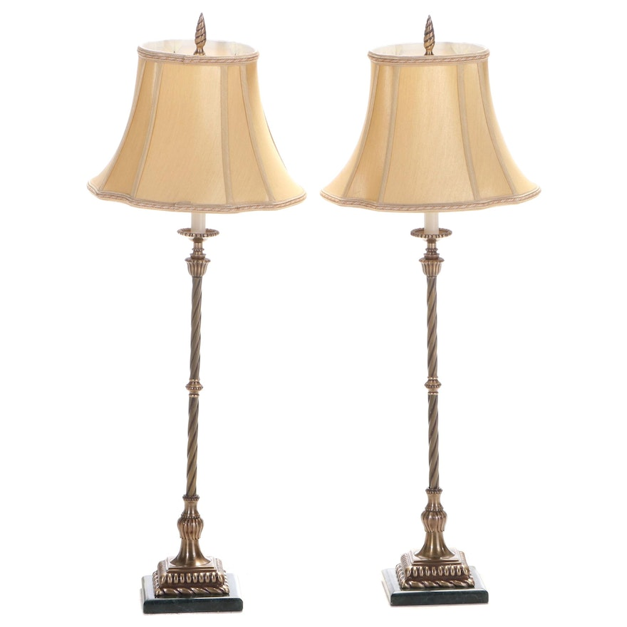 Pair of The Natural Light Brass and Green Marble Candlestick Table Lamps