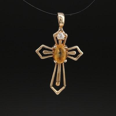 10K Citrine and Cubic Zirconia Cross Pendant