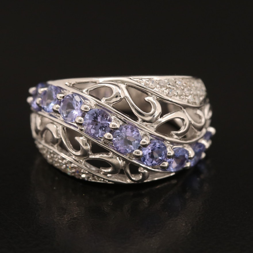 Sterling Tanzanite and Diamond Crossover Scrollwork Band
