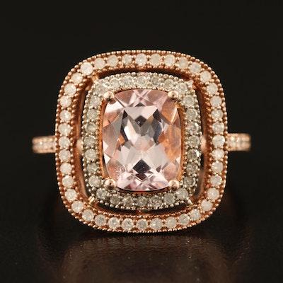 Sterling Morganite and Diamond Ring