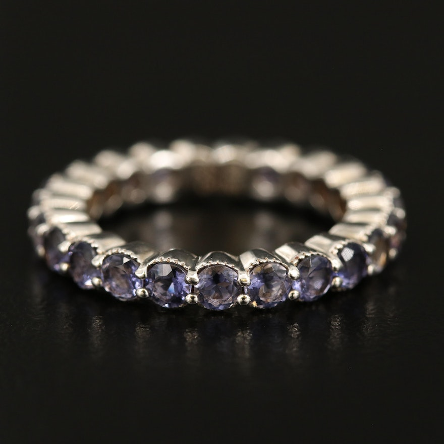 Sterling Iolite Eternity Band with Milgrain Detail