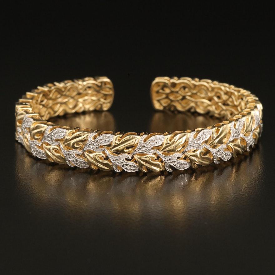Sterling Diamond Foliate Cuff Bracelet