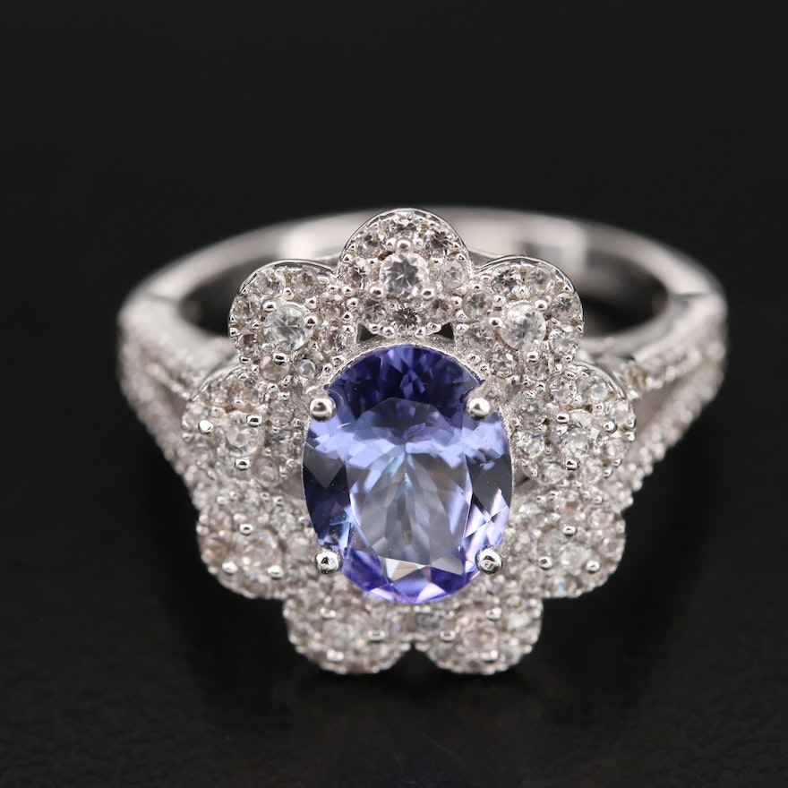 Sterling Tanzanite and Zircon Ring with Scalloped Edge
