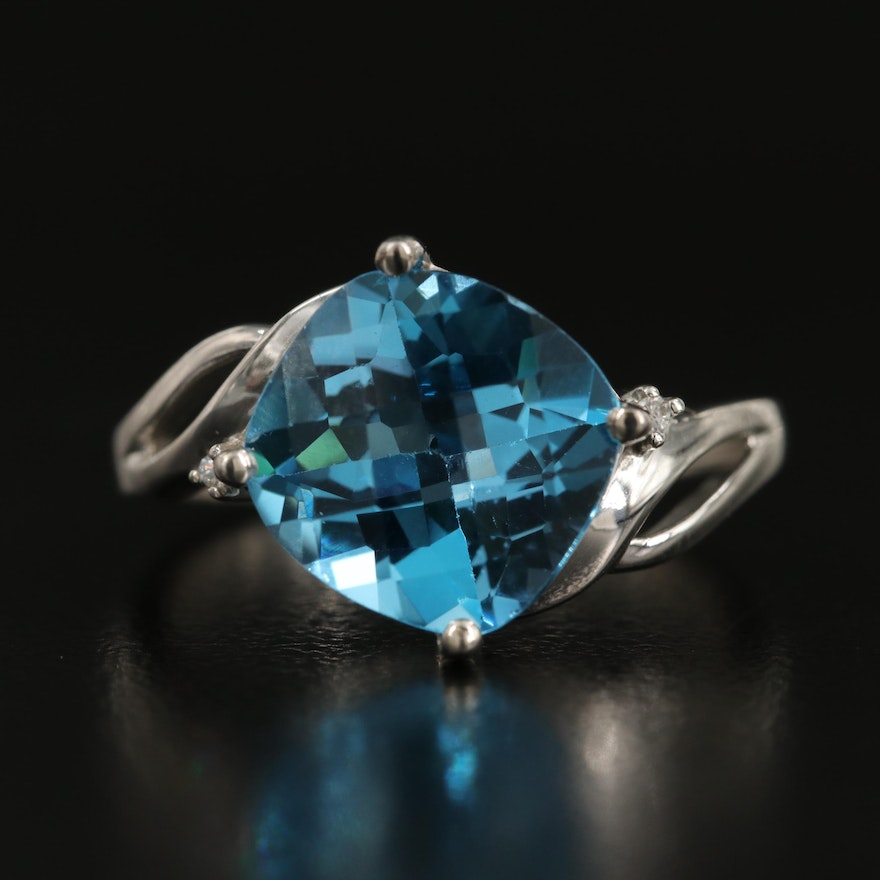 Sterling Swiss Blue Topaz and Cubic Zirconia Bypass Ring