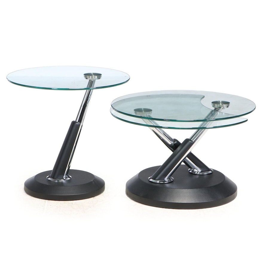 Two Modernist Style Chrome, Faux-Leather, and Glass Top Occasional Tables